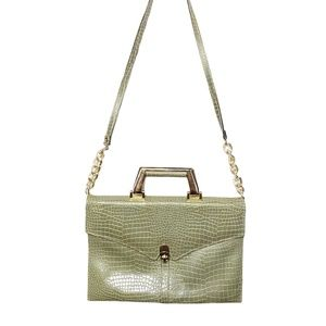 Vintage Scale Clutch Crossbody Bag in Olive Green